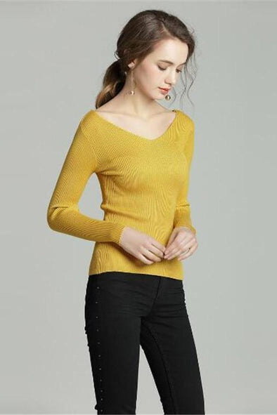 Yellow Solid Pullovers Women Slim V-neck Candy Colors Sweater | TeresaClare
