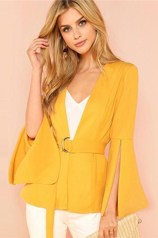 Yellow Split Sleeve Belted Outerwear Long Sleeve Coat | TeresaClare