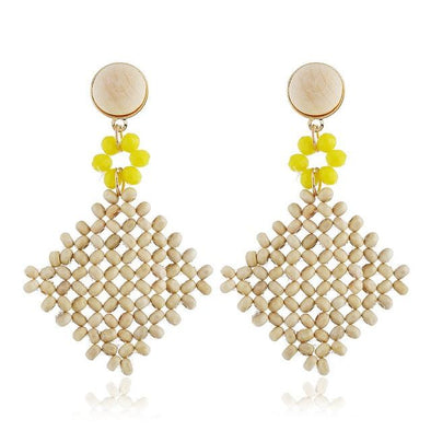Yellow Square Hollowed Rattan Knit Drop Earrings | TeresaClare