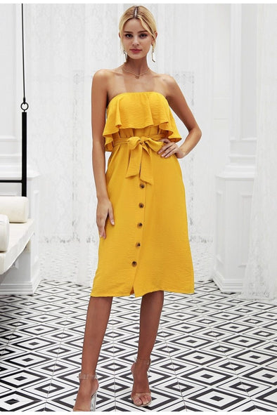 Yellow Strapless Front Button Ruffles Backless Summer Dress | TeresaClare