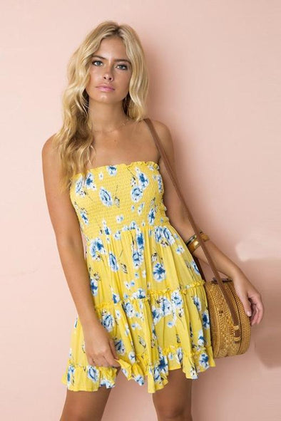 Yellow Strapless Lemon Print Backless Beach Fashion Dress With Ruffles | TeresaClare