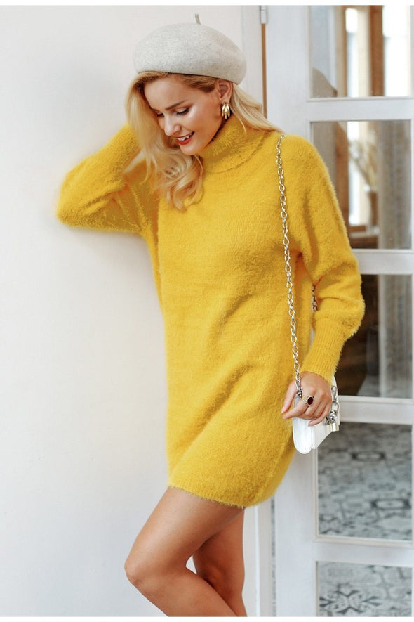 Yellow Turtleneck Latern Sleeve Sweater Bodycon Dress | TeresaClare