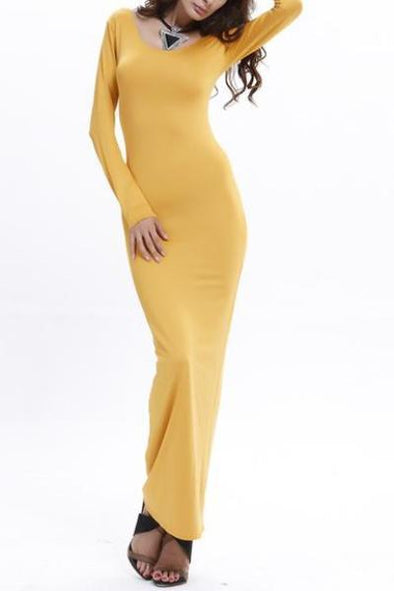 Yellow Women's Long Sleeve O-neck Ankle Length Bodycon Fashion Dress | TeresaClare