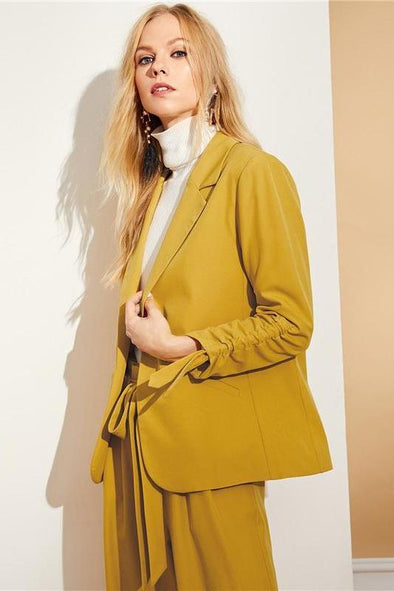 Yellow Women's Yellow Drawstring Sleeve Shawl Collar Blazer | TeresaClare
