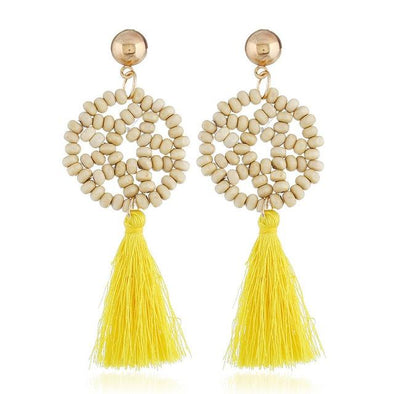 Yellow Wood Star Charm Tassel Earrings For Women Hollow Out Geometric | TeresaClare