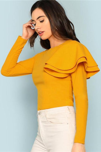 Zip Back Ruffle One Sleeve Tee Elegant Solid Slim Fit Long Sleeve T-Shirt | TeresaClare