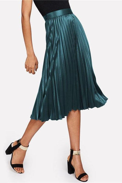 Zip Closure Pleated Satin Green Mid Waist Party Skirt | TeresaClare