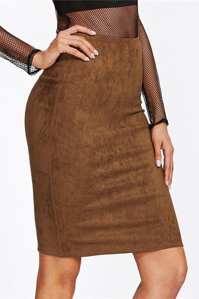 Zipper Slit Back Suede Brown Mid Waist Above Knee Skirt | TeresaClare