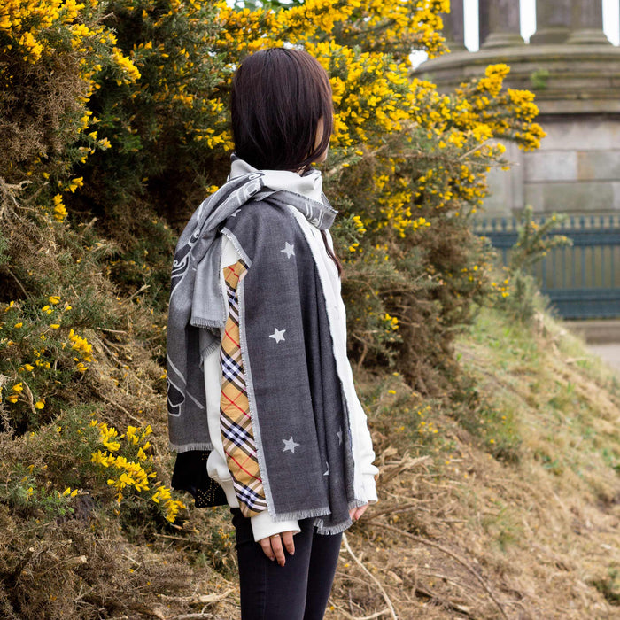 Calton Hill Edinburgh Collective Matter Stargazers Unisex Cashmere Silk Scarf Mick Peter with Alex Begg & Co