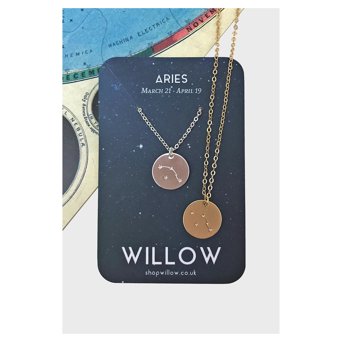 Silver Constellation Coin Necklace - Aries