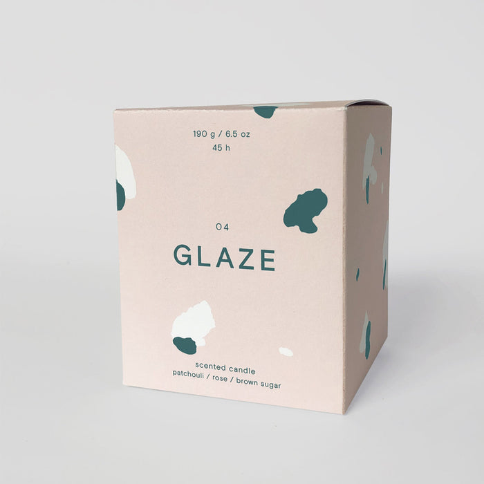 GLAZE: Patchouli, Rose and Brown Sugar Scented Candle