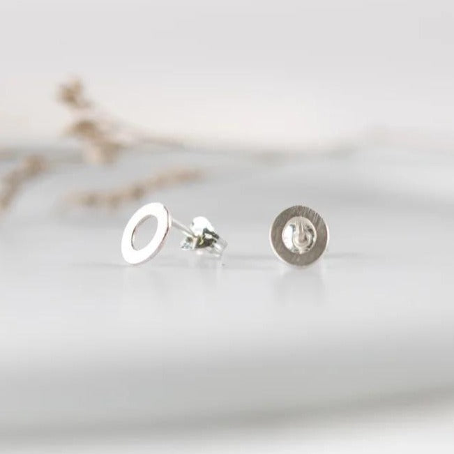 Oval Stud Earrings - Recycled Silver