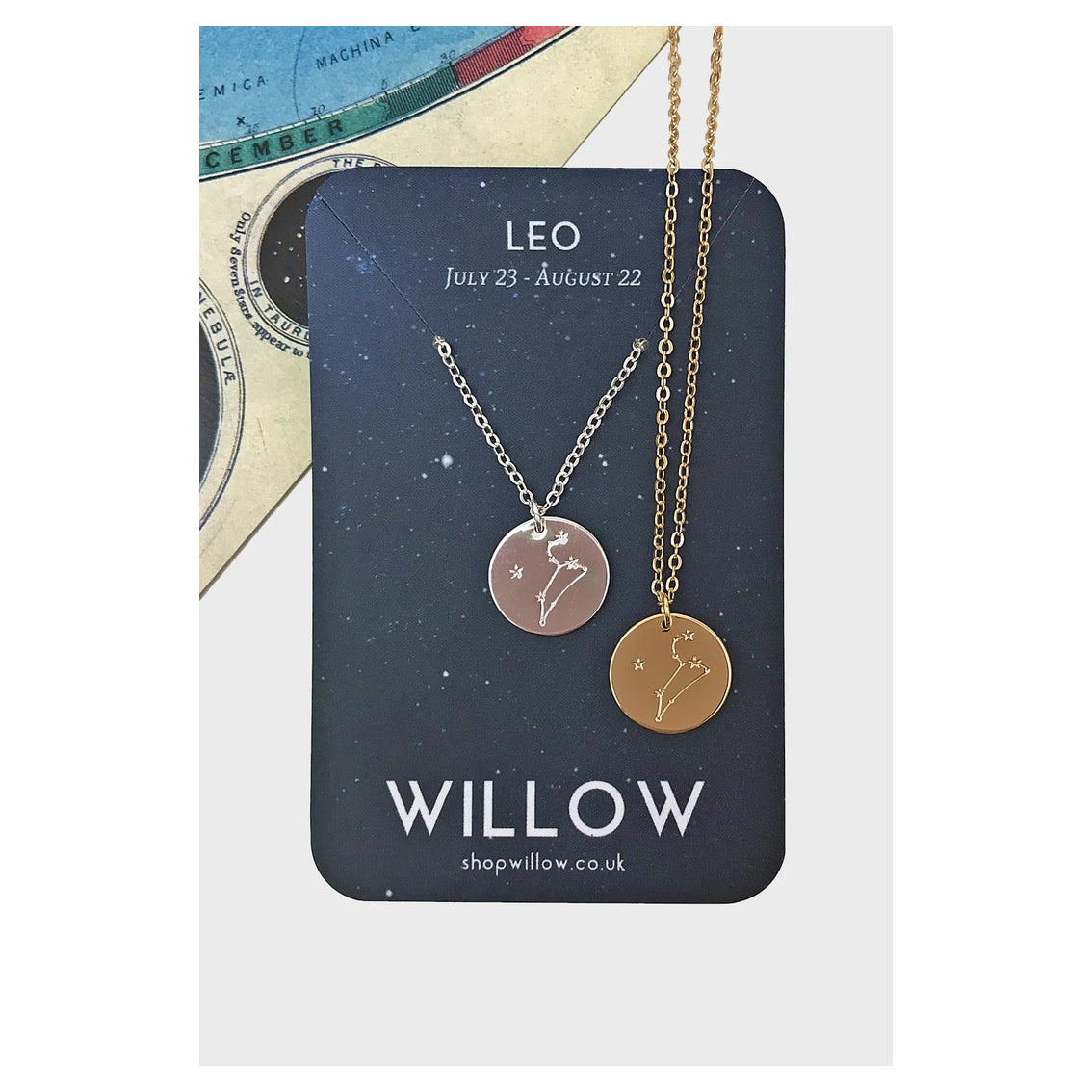 Gold Constellation Coin Necklace - Leo