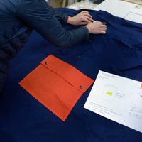 Calton Hill Edinburgh Scotland Collective Matter x Panel Rain Poncho Unisex Katie Schwab with Halley Stevensons and Greenhills Clothing Mary Quant Dark Navy Orange Waxed Cotton In Production