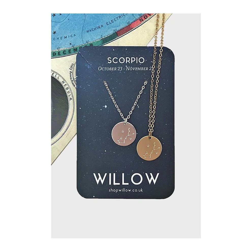Gold Constellation Coin Necklace - Scorpio