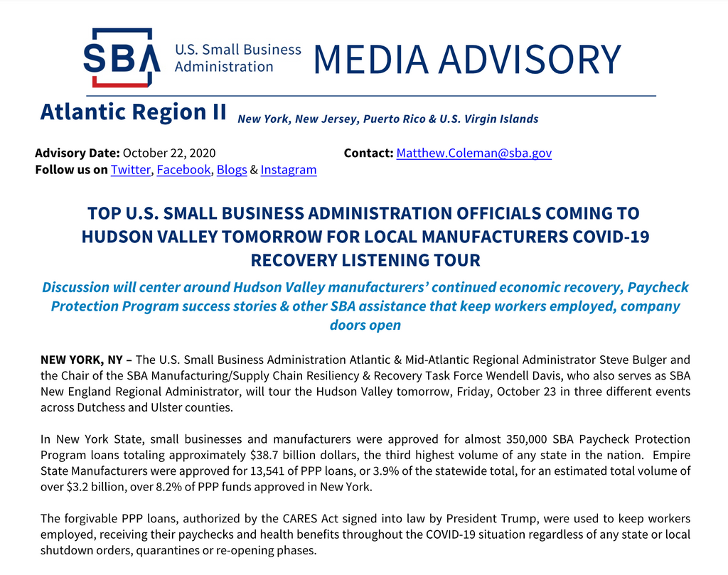TOP U.S. SBA OFFICIALS COMING TO HUDSON VALLEY