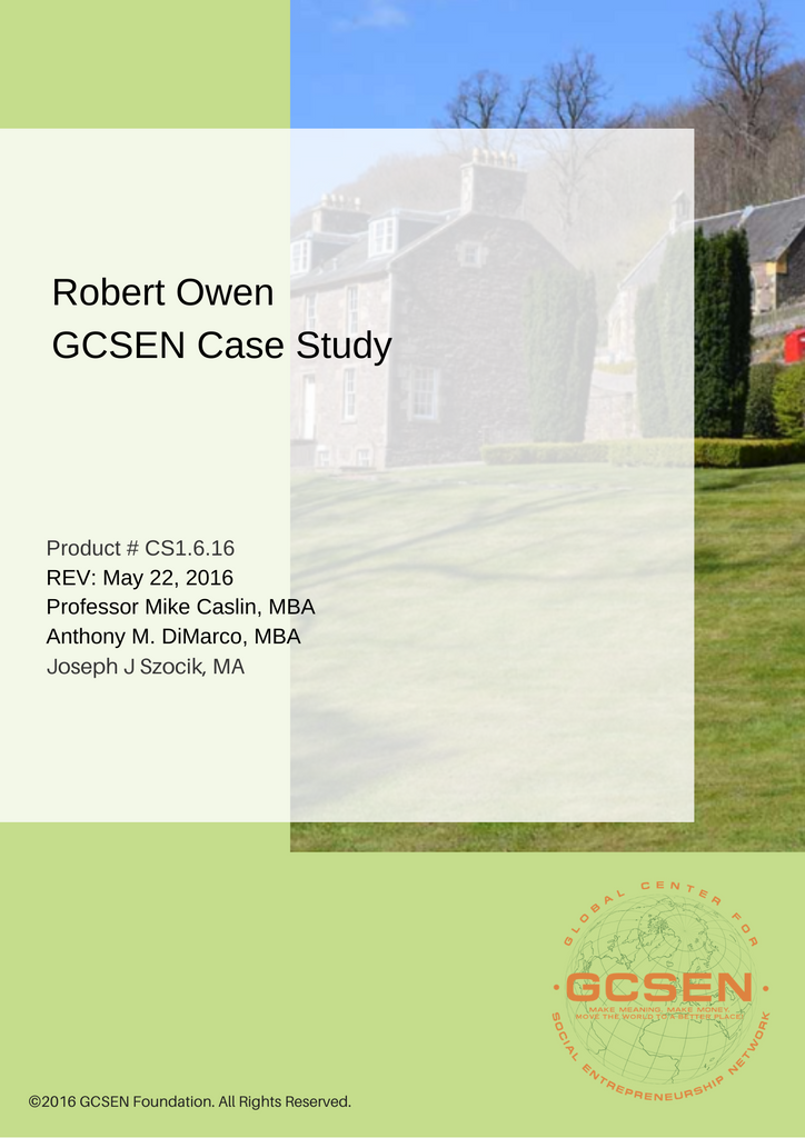 Case Studies - Robert Owen (Downloadable PDF)