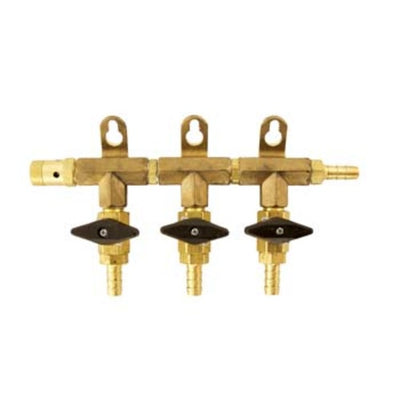 CO2 Manifold - 3-Way With Barb Shutoffs & Check Valves - Brass