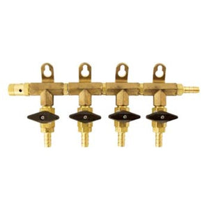 CO2 Manifold - 4-Way With Barb Shutoffs & Check Valves - Brass
