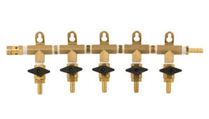 CO2 Manifold - 5-Way With Barb Shutoffs & Check Valves - Brass