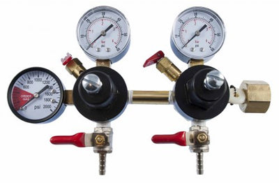 Double Body CO2 Regulator - Three Gauge