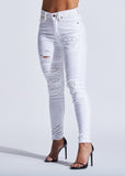 Dazzling Dove Ripped White Denim