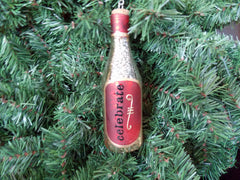 Wine Bottle Christmas Ornament - Red