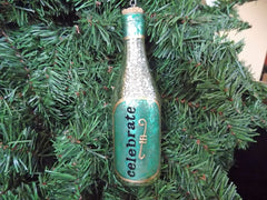 Wine Bottle Christmas Ornament - Blue