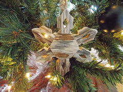 Driftwood Snowflake Coastal Christmas Ornament