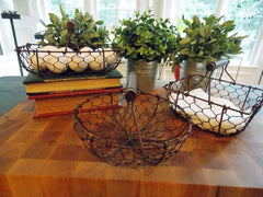 Chicken Wire Baskets with Handle - Round, Square & Oval