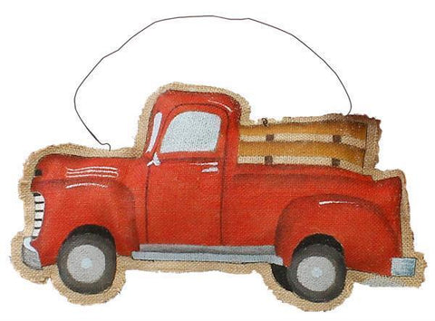 "17"" Red Christmas Truck Burlap Sign with Hanger"