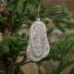 Silver Flip Flops Coastal Christmas Ornament