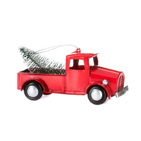 Old Fashioned Red Truck with Christmas Tree Ornament