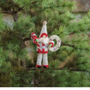 Pipe Cleaner Santa With Wreath Christmas Ornament