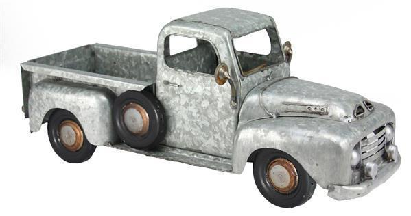 "16"" Galvanized Metal Farmhouse Christmas Truck Planter"
