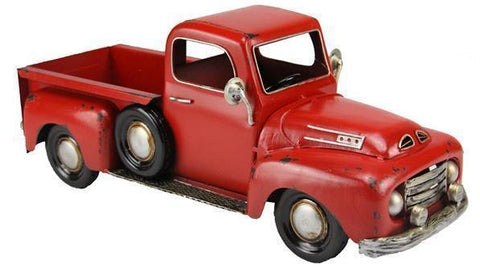 "16"" Metal Farmhouse Christmas Truck Planter in Red"
