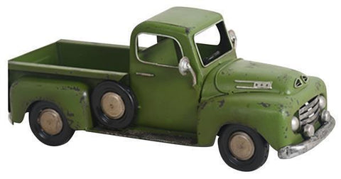 Metal Farmhouse Christmas Truck Planter in Green