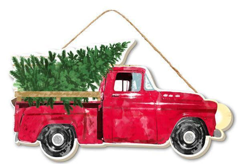 Red Christmas Truck With Tree Hanging Sign