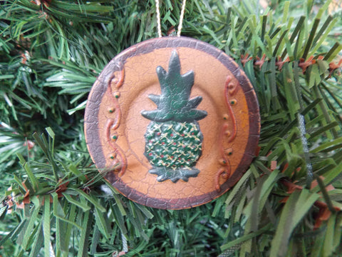 Pineapple Plate Terra Cotta Christmas Ornament