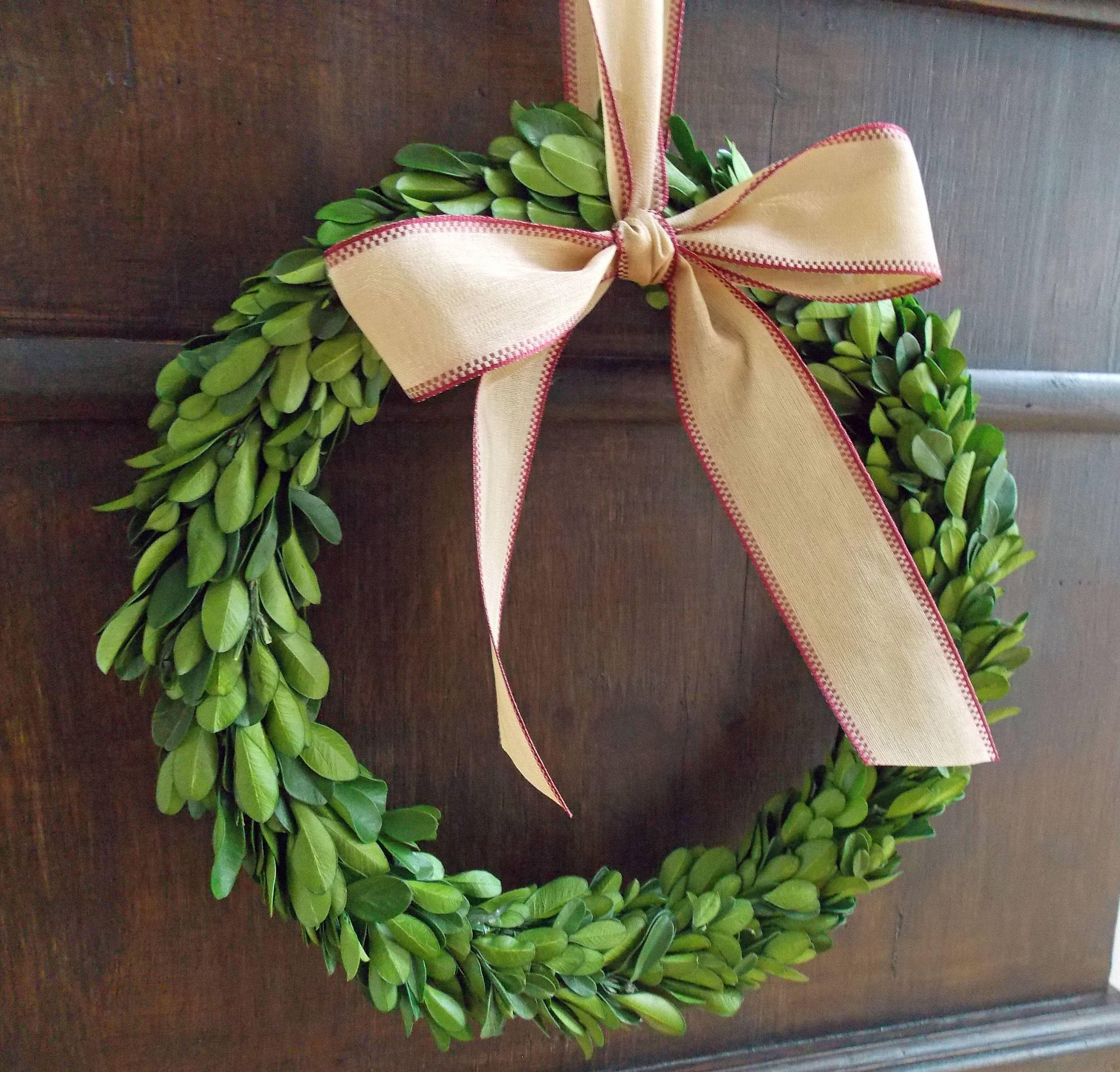 "CHOOSE 6"" 8"" or 10"" Preserved Boxwood Christmas Wreath with Ribbon-Mini Wreath-Small Christmas Wreath-Holiday Home Decor-Farmhouse Christmas"