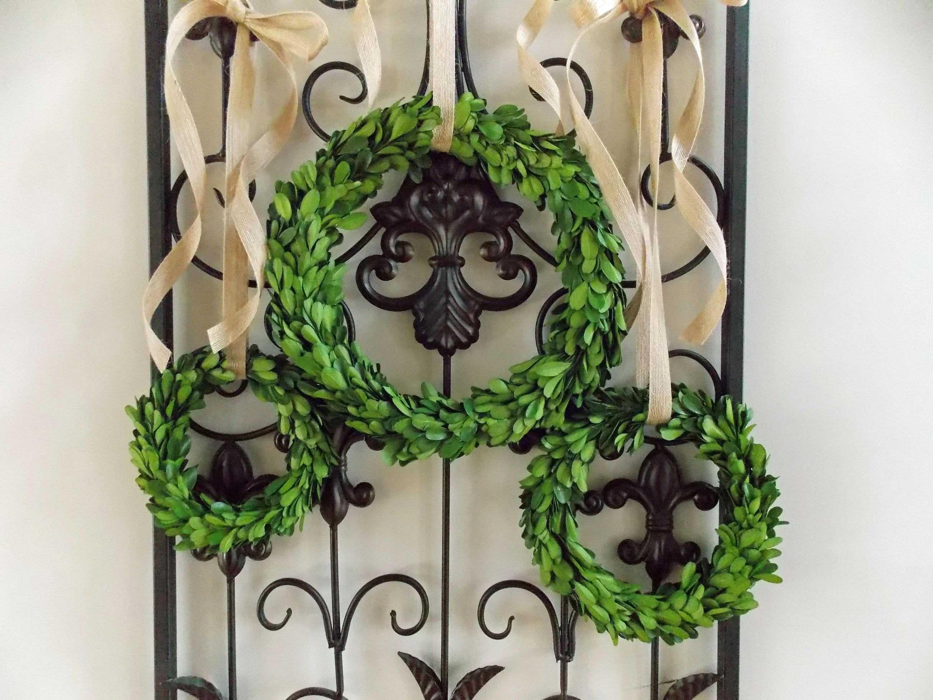 "6"" 8"" 10"" Preserved Boxwood Wreath with Burlap Ribbon-Accent Wreath-Farmhouse Boxwood Wreath-Mini Wreath-Small Wreath-Year Round Wreath"