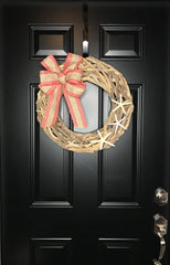 Driftwood Wreath-Coastal Christmas Wreath for Front Door with Starfish and Bow-Beach Christmas Wrath-Seaside Ocean Nautical Wreath