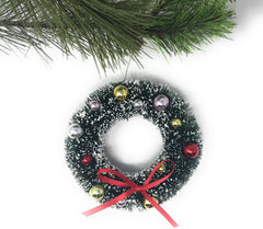 "4"" Miniature Flocked Sisal Wreath Ornament"