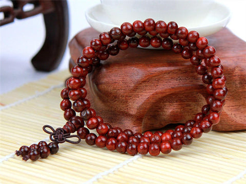 108 Tibetan Buddhist Prayer Mala Bead Necklace / Bracelet Wrap - Natural Red Rosewood
