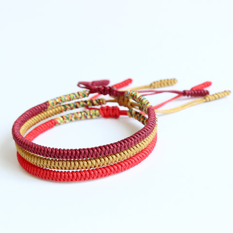Lucky Knoted Bracelets - Handmade by Tibetan Buddhist Monks! - Maroon / Golden / Red