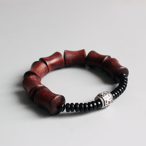 Red Sandalwood & Coconut Shell With Om Mani Padme Hum Charm Bracelet (For Men)