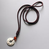 OM MANI PADME HUM Mantra Carving in Tagua Nut Pendant Necklace