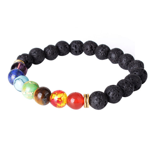 Lava Rock 7-Beaded Bracelet Essential Oil Diffuser for Men, Women Aromatherapy Ideal for Anti-Stress or Anti-Anxiety