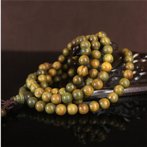 108 Tibetan Buddhist Prayer Mala Beads Necklace / Bracelet-Wrap - Natural Green Sandalwood
