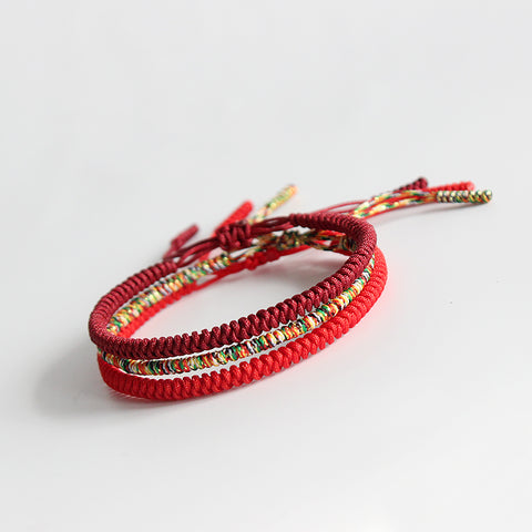 Lucky Knotted Bracelets - Handmade by Tibetan Buddhist Monks! - Maroon / Multicolor / Red